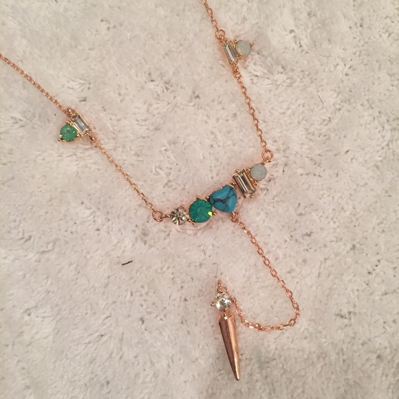 Classically Chic Boutique Jewelry - Gold, Blue, Green, Boho Rhinestone Necklace